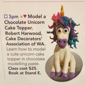 Unicorn Cake Topper Workshops at the Perth Craft and Quilt Fair | Learn how to work with modelling chocolate. Make and take home your own chocolate unicorn cake topper. I'm on at 3pm everyday this Wednesday to Sunday. Come to the Perth Craft and quilt fair and you can do this 1 hour workshop. $25 Book at the Cake Decorators' Association of WA stand | https://robertscakesandcooking.com/unicorn-cake-topper-workshops-at-the-perth-craft-and-quilt-fair/